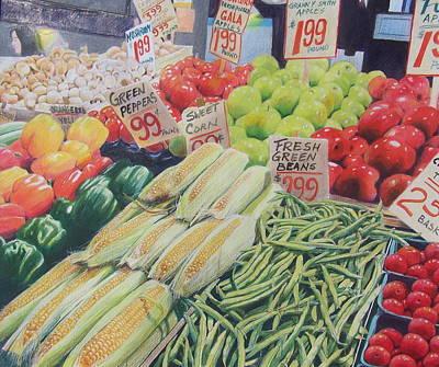 Green Beans Painting - Fresh Green Beans by Constance DRESCHER
