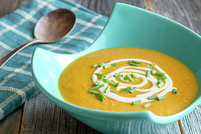Fresh Pumpkin Squash Soup Print by Teri Virbickis