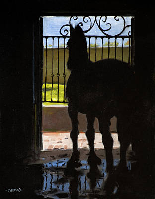 Vertical Painting - Friesian Silhouette by Christopher Reid