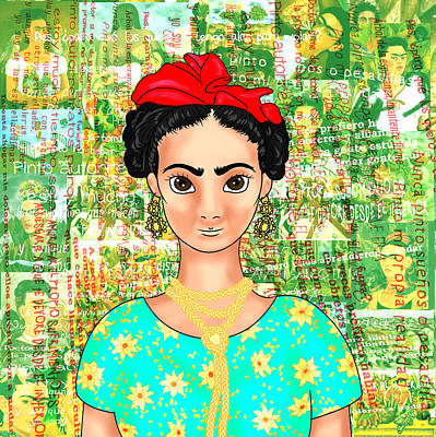 Mexicano Drawing - Frida Ok Green by Rene Lopez