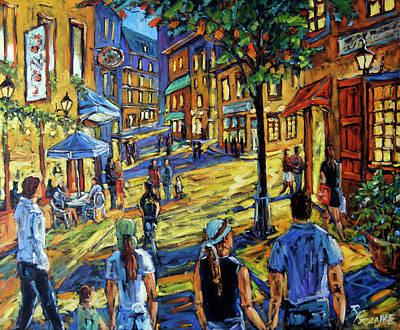 Town Painting - Friday Night Walk Prankearts Fine Arts by Richard T Pranke