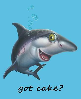 friendly Shark Cartoony cartoon under sea ocean underwater scene art print Print by Walt Curlee