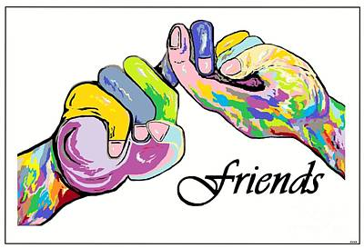 Signed Painting - Friends . . . An American Sign Language Painting by Eloise Schneider