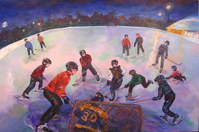Neighbourhoods Painting - Friends Scrimmage At Tuxedo Community Club by Naomi Gerrard
