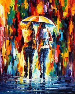 Friends Under The Rain Print by Leonid Afremov