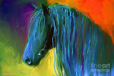 Friesian Horse Painting 2 Print by Svetlana Novikova