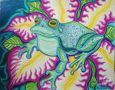 Amphibians Drawing - Frog And Flower by Nick Gustafson