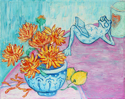 Painting - Frog Chrysanthemum Tea by Xueling Zou