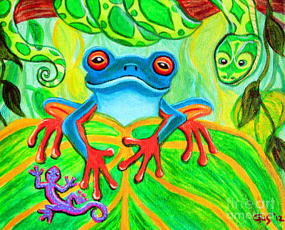 Gecko Painting - Frog Snake And Gecko In The Rainforest by Nick Gustafson
