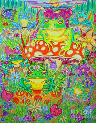 Frogs And Mushrooms Print by Nick Gustafson