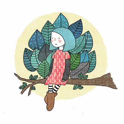 Girls Drawing - From My Throne Of Leaves, From My Bed Of Grass by Carolina Parada