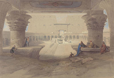 From Under The Portico Of The Temple Of Edfu, Upper Egypt Print by David Roberts