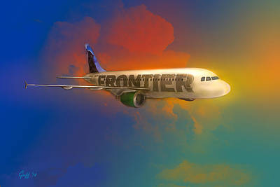 319 Digital Art - Frontier Airbus A-319 by J Griff Griffin