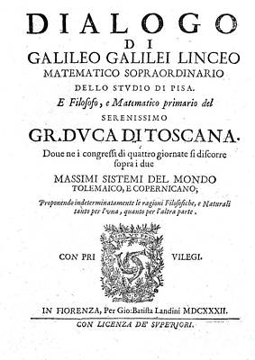 Book Title Photograph - Frontispiece From Galileos Dialogue by Wellcome Images