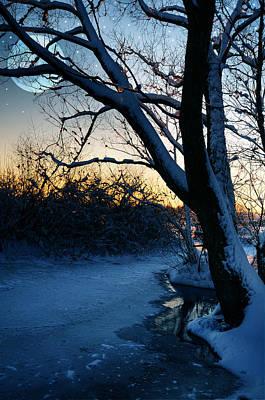 Frozen River Print by  Jaroslaw Grudzinski