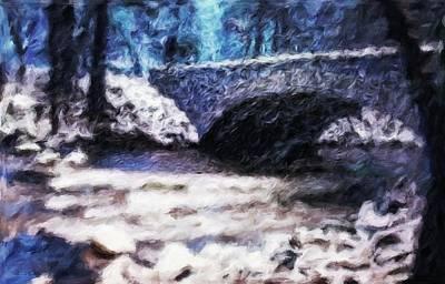 Digital Painting - Frozen River Under Bridge - Abstract Impressionist Painting by Katrina Britt