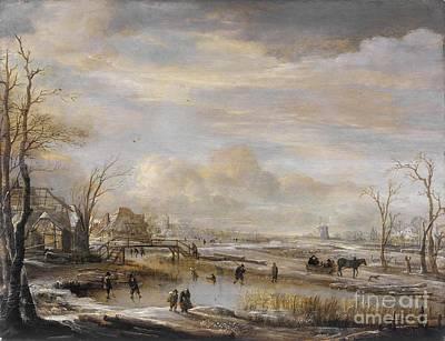 Footbridge Painting - Frozen River With A Footbridge by Celestial Images