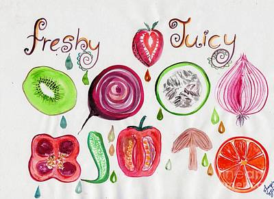 Vegetable Market Drawing - Frshy Juicy by Sweeping Girl