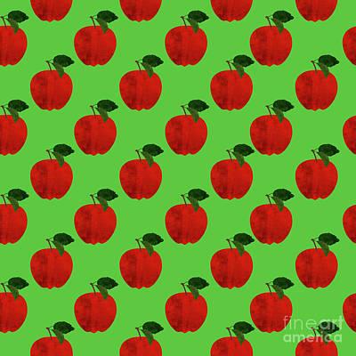 Apples Digital Art - Fruit 02_apple_pattern by Bobbi Freelance