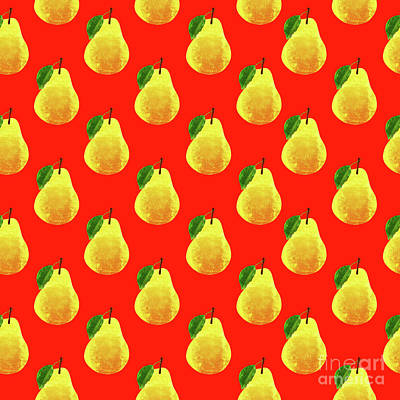 Red Fruit Digital Art - Fruit 03_pear_pattern by Bobbi Freelance