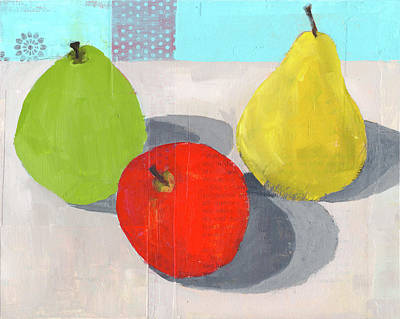Pear Mixed Media - Fruit And Shadows by Laurie Breen
