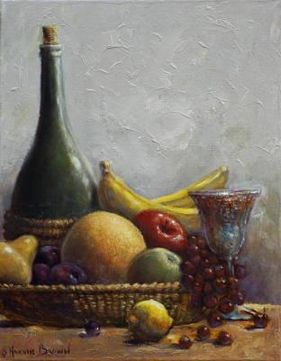 Wine Bottle Painting - Fruit Basket by Harvie Brown