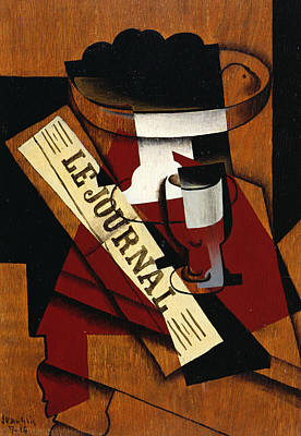 Journal Painting - Fruit Dish Glass And Newspaper by Juan Gris