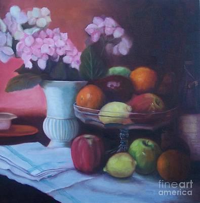 Fruit On Glass Dish I Print by Marlene Book
