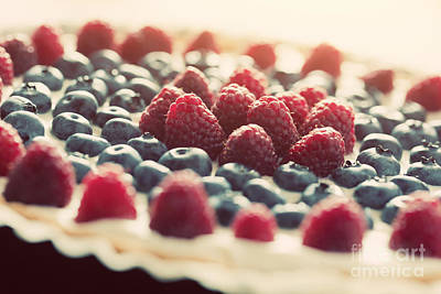 Organic Photograph - Fruit Tart With Fresh Raspberry And Blueberry by Michal Bednarek