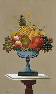 Charles Sidney Raleigh Painting - Fruit With Blue-footed Bowl by Charles Sidney Raleigh
