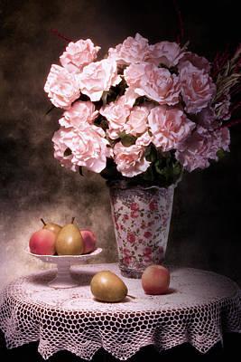 Fruit With Flowers Still Life Print by Tom Mc Nemar