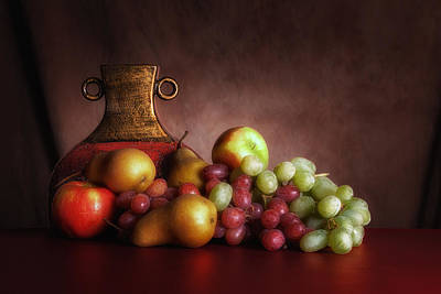 Fruit With Vase Print by Tom Mc Nemar