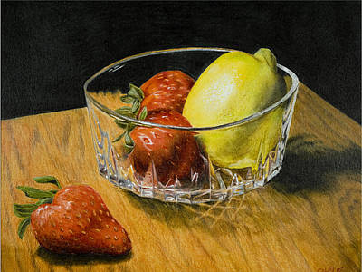 Glass Table Reflection Mixed Media - Fruitful by Bryan Calcagno