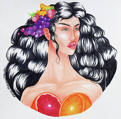 Grapefruit Drawing - Fruits by Erica Elizabeth