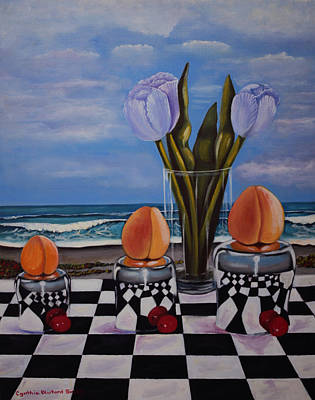 Fruity Day At The Beach Print by Cynthia Bluford