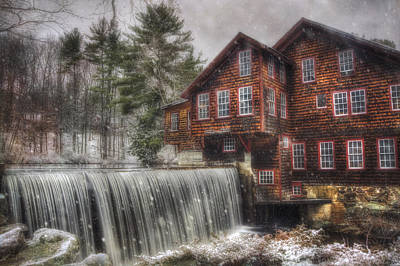 Old Mill Scenes Photograph - Frye's Measure Mill - Winter In New England by Joann Vitali
