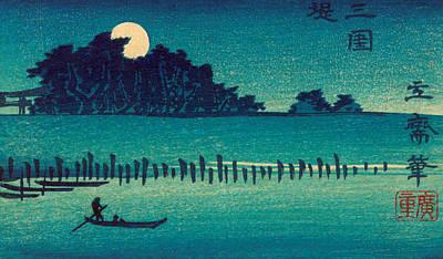 Moonlit Night Drawing - Fukeiga by Hiroshige