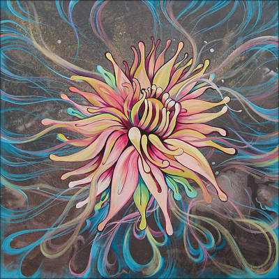 Chrysanthemum Painting - Full Bloom by Shadia Zayed
