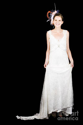 Full-length Portrait Photograph - Full Body Portrait Of A Bride With Smile On Black by Jorgo Photography - Wall Art Gallery