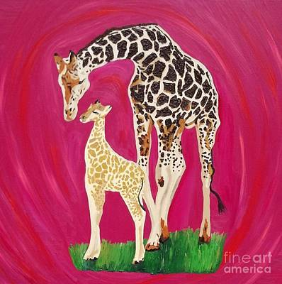 Mother And Baby Giraffe Painting - Full Circle by Amy Pugh