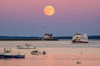 Penobscot Bay Photograph - Full Hunter Moon Over Rockland Breakwater by Tim Sullivan