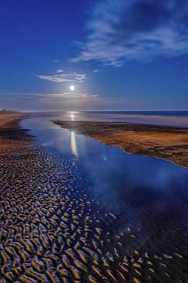 Full Moon At Folly Beach - Charleston Sc  Print by Drew Castelhano