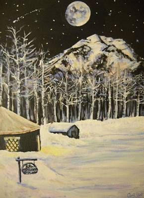 Sundance Painting - Full Moon At The Sundance Nordic Center by Cami Lee