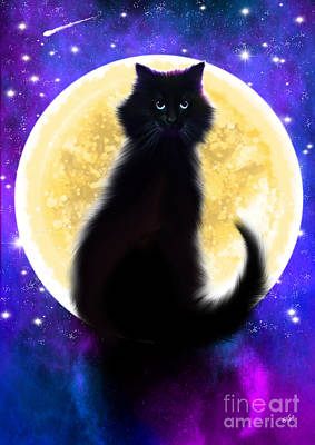 Painting - Full Moon Black Cat by Nick Gustafson
