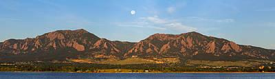 Usa Photograph - Full Moon Boulder Colorado Front Range Panorama by James BO  Insogna