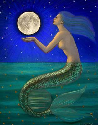 Full Moon Mermaid Print by Sue Halstenberg