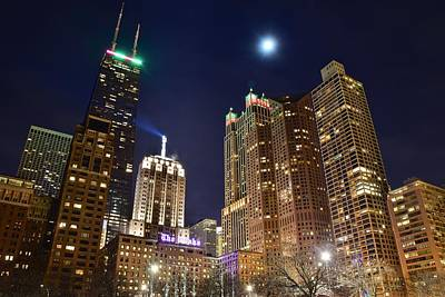 Full Moon Over Chi Town Print by Frozen in Time Fine Art Photography