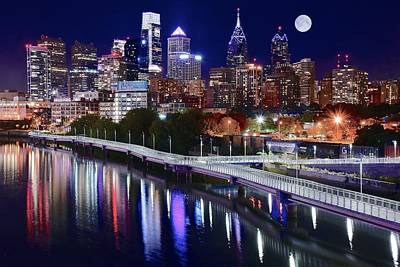 Boathouse Row Photograph - Full Moon Over Philly by Frozen in Time Fine Art Photography