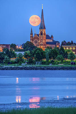 Immaculate Photograph - Full Moon Over Portland Cathedral by Tim Sullivan