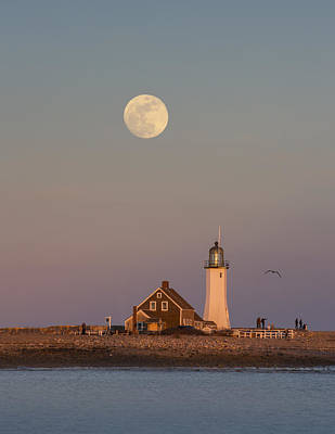 Lighthouse Photograph - Full Moon Over Scituate At Sunset by Betty Wiley